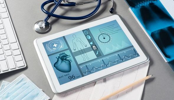 Tablet mit medizinischen Animationen.
