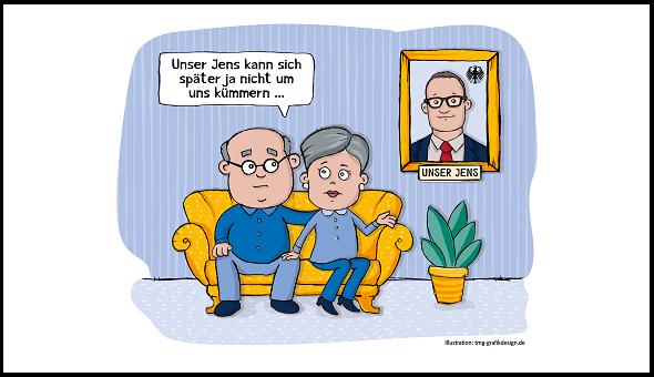 """Für die Düsseldorfer vigo Krankenversicherung waren die Talkshow-Äußerungen von Jens Spahn bezüglich einer möglichen privaten Pflegesituation eine Steilvorlage für eine karikaturistische Werbekampagne unter dem Titel """"Unser Jens""""."""